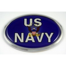 Navy 3D Blue Oval Triple Chrome Plated Adhesive ABS Emblem