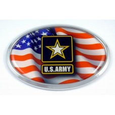 Army and Flag Oval 3D Triple Chrome Plated Adhesive ABS Emblem