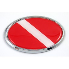 diver oval 3D adhesive chrome car emblem