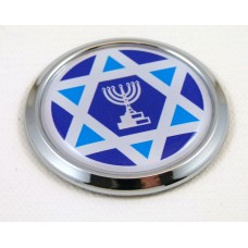 israel round new chrome car badge