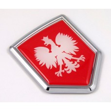 poland flag RED shield 3D adhesive chrome car emblem