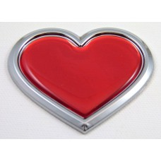 red chrome HEART 3D Adhesive Emblem